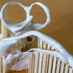 Magnified 3D print of structures at risk such as facial nerve and semicircular canals. Supports were automatically generated by the 3D printer's slicer software and can easily be removed.
